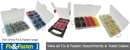 Our recently added range of Assortments & Trade Cases, includes Woodscrews, Anchors, Nuts, Bolts, Washers and much more.